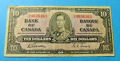1937 Bank of Canada 10 Dollar Note  - GORDON/TOWERS - Interesting Serial Number