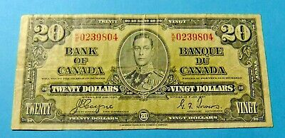 1937 Bank of Canada 20 Dollar Note - COYNE/TOWERS - K/E 0239804 - VF