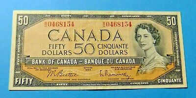1954 Bank of Canada 50 Dollar Note - VF30