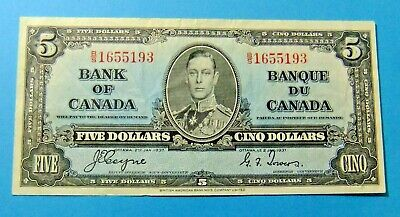 1937 Bank of Canada 5 Dollar Note - Grade VF25