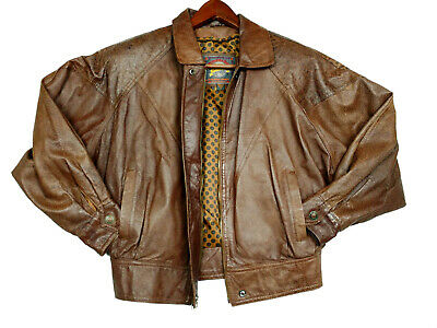 Wilsons Adventure Bound Vtg 80s Womens Brown Leather Jacket Coat 3733 Size S