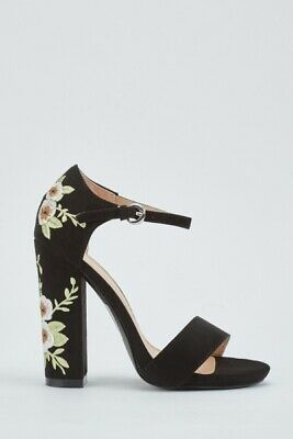 257b0f598 Black Ladies Size 4/37 Strappy Flower Embroidered Very High Block Heel  Sandals