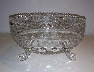 American Brilliant Antique Cut Glass Bowl Footed Etched Flowers Serrated Edge