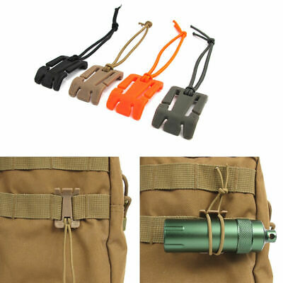 5/Set Military Molle Bungee Elastic Cord Tie Down Strap Buckle Roll Cl Hang F5V1