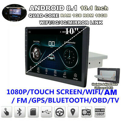"Single 1-Din Android 8.1 10"" Car Stereo Radio GPS WiFi BT DAB Mirror Link OBD"