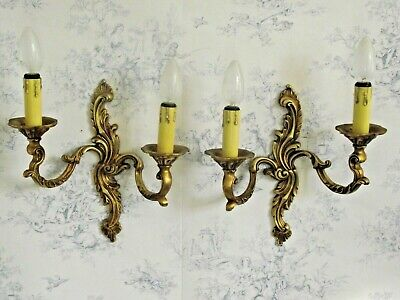 Large Pair French Antique Rococo Bronze Sweeping Leaf Double Wall Sconces 1133