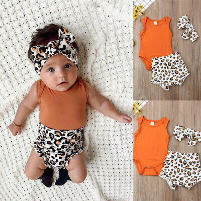Toddler Baby Girl Summer Romper Leopard Short Pants Headband 3PCS Outfits Set AU