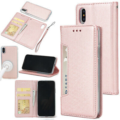 For iPhone XS Max XR X 7 Plus Leather Wallet Card Slot Flip Removable Cover Case