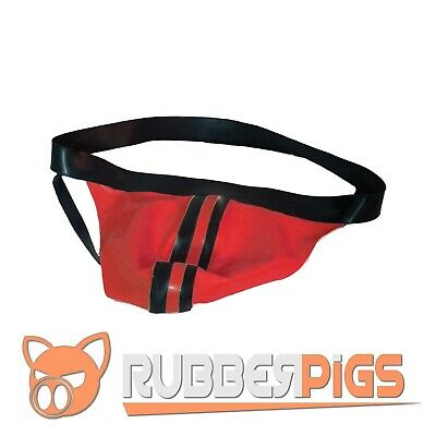 Rubber locker room jockstrap posing pouch hand made in UK Red and black