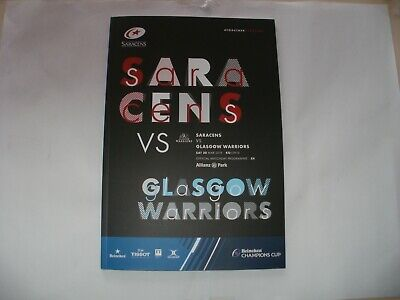 Rugby Programme-Saracens V Glasgow Warriors Euro Cup 1/4 Final 30 Apr 2019