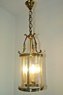 Beautiful Large French Antique Round Glass & Brass 2 Candle Hall Lantern 1331