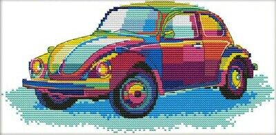Colourful Car. Transport. 14CT counted cross stitch kit. Craft brand new