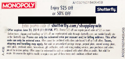 $25 or 50% Shutterfly coupon code - monopoly- Safeway