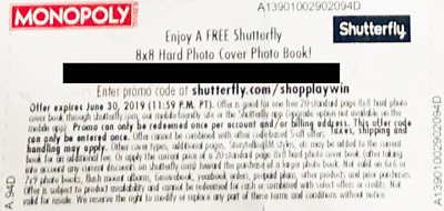 8 x 8 Hard photo cover photo book Shutterfly coupon code - monopoly- Safeway