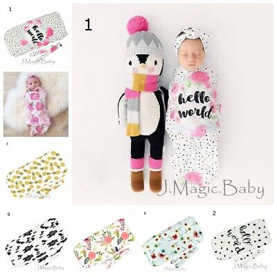 Newborn Baby Infant Cocoon Swaddle Sleeping Bag Sack Wrap Headband Set Photoprop
