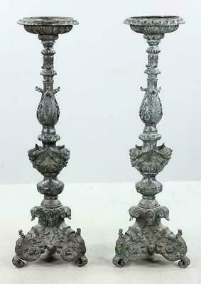 Antique Pair Of 19th C. Bronze Torchiere Candle/Plant Stands w/ Putti Figures