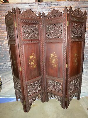 Antique Chinese Hand Carved Wooden Room Divider/Privacy Screen w Satinwood Inlay