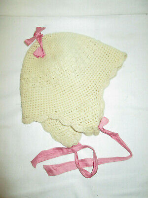 Vintage Antique Hand Made Crocheted Baby Cap Bonnet            (MH)