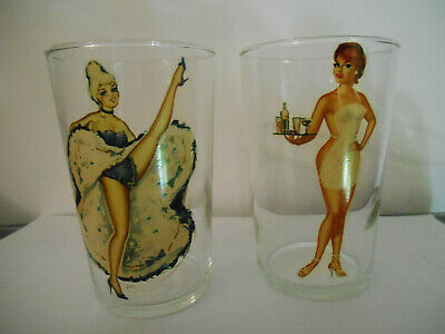 2 verres pin up ancien 60's - 2 old 60's pin-up glass
