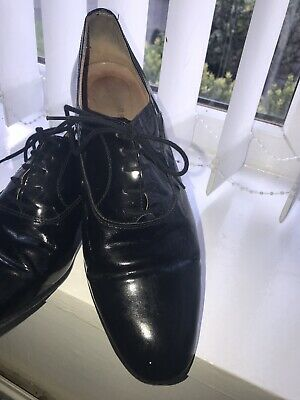 Vintage Russell & Bromley Black Patent Leather Oxford Lace Up Shoes - Size 9