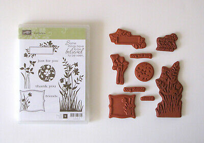Stampin' Up Just Believe Flowers Leaves Greetings Clear Mount Stamp Set USED