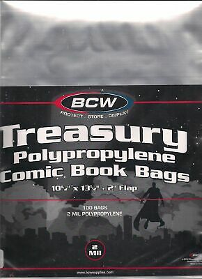 (100) Bcw Treasury Comic Book Size Bags / Covers - Discounts On 2+ Packs