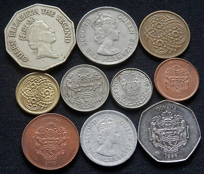10 Different Type Of Coins From Guyana, Suriname And Belize,