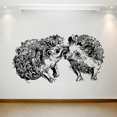 Large wall decal Two hedgehogs in ornament Removable Vinyl Transfer 061