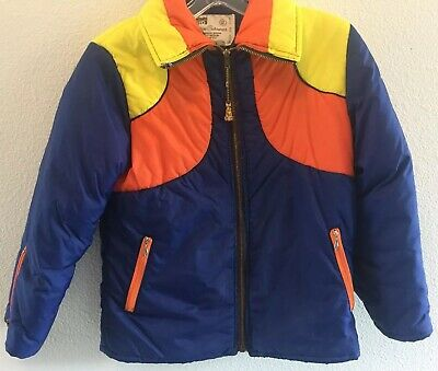 Montgomery Ward Vintage Boys Quilted Puff Jacket With Hood Size 12