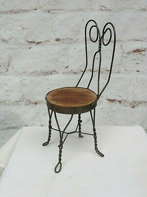 Vintage Doll or Salesman Sample Wrought Iron Ice Cream Parlor Chair w/ Wood Seat