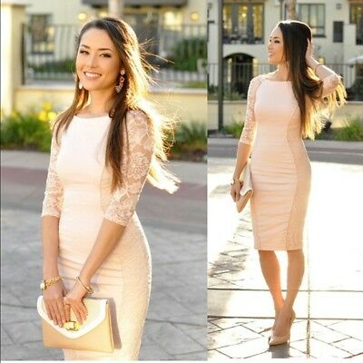 NWT Bebe blush pink Curve Seam side Lace inset Midi top dress XS 0 2 sexy classy