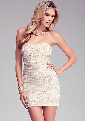 NWT bebe beige mesh ruched gold zip studs strapless sexy top dress S Small