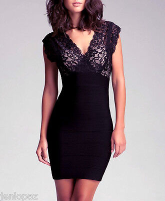 NWT bebe black ivory lace double deep v neck bandage top vegas dress XS 0 2 sexy