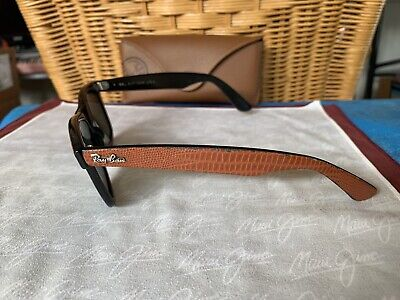 'RARE' Ray-Ban BL 'LEATHER WAYFARER' G-15 Lens on Brown/Black Frame + Case