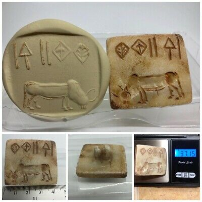 (42 mm) Ancient Indus valley Unique Cow  Seal Intaglio inscription stone stamp