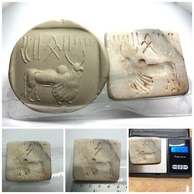 (50 mm) Ancient Indus valley Unique Bull  Seal Intaglio inscription stone stamp