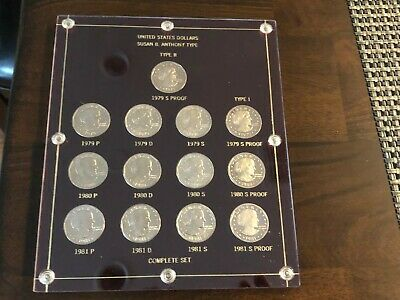 Susan B Anthony 13 coin Set in Capital Holder!  Type 1 & II in Proof! PRISTINE!