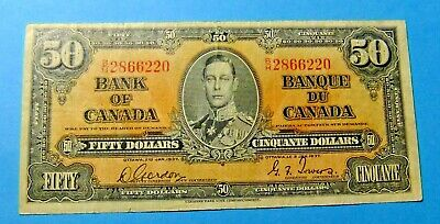1937 Bank of Canada 50 Dollar Note - GORDON/TOWERS - VF/VF25