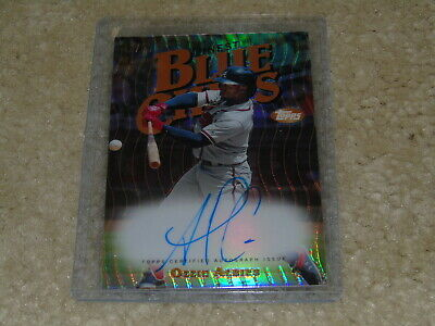 2019 Topps Finest Ozzie Albies Blue Chips Insert Refractor Auto 41/99 Braves