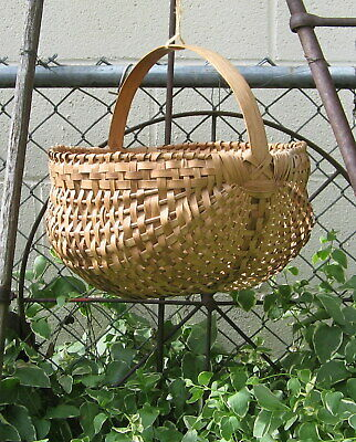 Antique Prim Hand Woven Oak Splint Buttocks Basket Gathering - Super Neat-Look!!