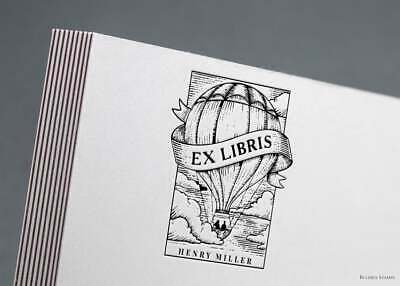 Sello para libros, ex libris globo, Library Stamp, from the library of