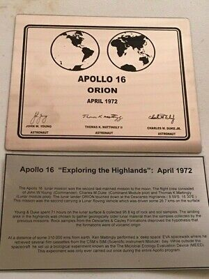 APOLLO 16 NASA LUNAR landing plaque - SUPER SPECIAL + engraved explanation plate