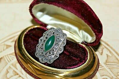 Antique Art Deco Sterling Silver Green Chrysoprase Marcasites Large Ring