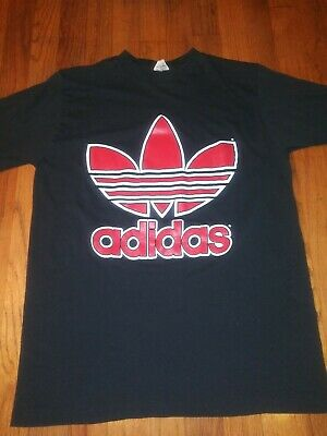 Mens M Vintage 70s Adidas USA Trefoil Red Logo T Shirt rap run dmc rock 80s