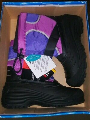 Totes Kids Purple/Black Boots Girls Size 5 Waterproof -40° MSRP $65 NWT in Box