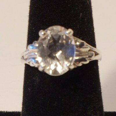 Gorgeous Colorado Clear White Topaz Sterling Silver Ring~Large Oval Faceted Cut