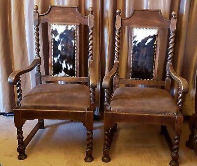 Beautiful Pair Antique Oak Barley Twist Throne Chairs~Cowhide Hair Nailhead