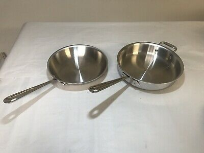 """All-Clad Stainless Steel Tri-Ply Bonded Safe 3Qt Saute Pan & 10"""" Fry Pan Used"""