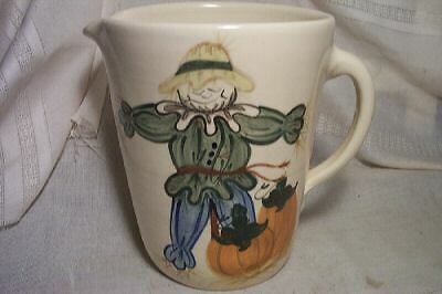 vINTAGE Halloween fall decor country Pottery water Pitcher scarecrow pumpkins