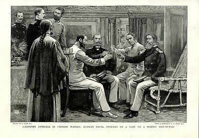 China Russian Naval Officers on a Visit to a British Man-of-War Print from 1894